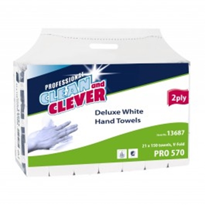 Picture of Clean and Clever 103509 Hand Towel Zig-Zag V-Fold 2 Ply- White