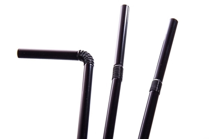 """Picture of BIODEGRADABLE BLACK 8"""" FLEXI STRAW 6mm * BOX 250"""