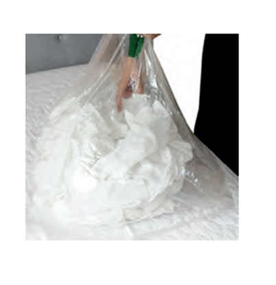 "Picture of 50 Litre Clear Laundry Bags with Soluble Strip (Dissolvo)- Size: 18""x28""x30"""