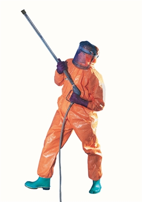 Picture of 96530 KLEENGUARD A80 CHEMICAL PERMEATION & JET LIQUID PROTECTION COVERALL XL- HOODED ORANGE
