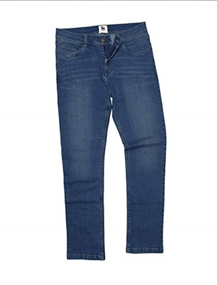 "Picture of SD001 Men's Leo Straight Jeans 32"" Waist Mid Blue Wash"
