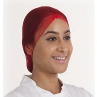 Picture of RED METAL FREE HAIRNET (KNOTTED)- PACK OF 100
