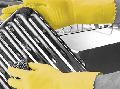 Picture of 7-7.5 (MEDIUM) YELLOW OPTIMA™ MEDIUMWEIGHT NATURAL RUBBER GLOVE FLOCK LINED- SOLD EACH