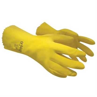 Picture of 6-6.5 (SMALL) YELLOW OPTIMA™ MEDIUMWEIGHT NATURAL RUBBER GLOVE FLOCK LINED- SOLD EACH
