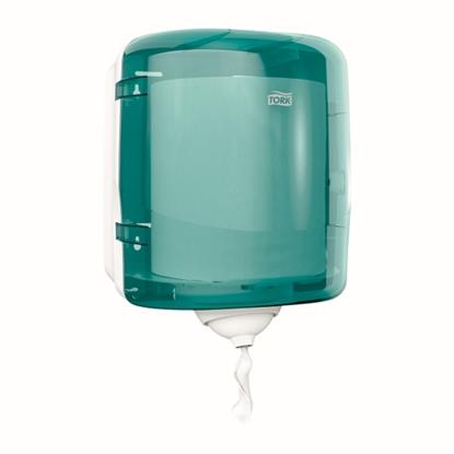 Picture of 473180 Tork M4 Reflex Single Sheet Centrefeed Dispenser- White/Turquoise