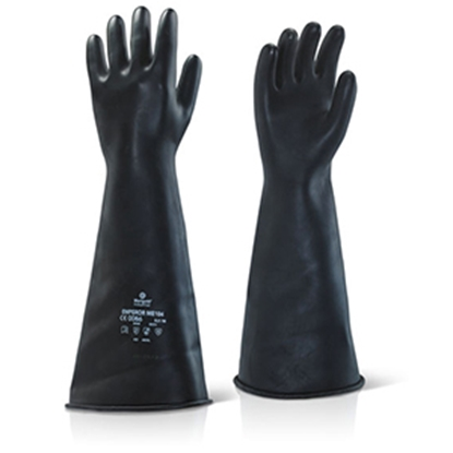 """Picture of CLICK INDUSTRIAL LATEX MEDIUM WEIGHT 17"""" GAUNTLET EXTRA LARGE 10 BLACK- SOLD EACH"""