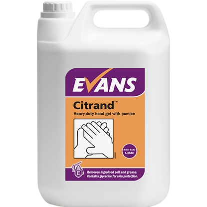 Picture of A094EEV2 Evans Citrand Heavy Duty Hand Gel with Pumice 5 Litre with Free Pump