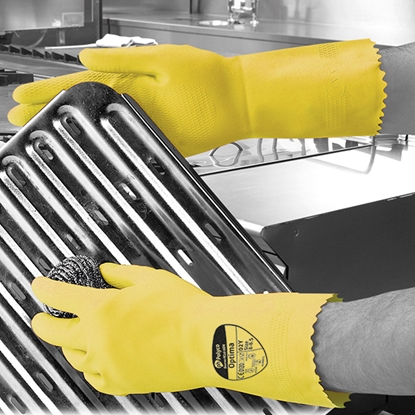 Picture of 6-6.5 (SMALL) PINK OPTIMA™ MEDIUMWEIGHT NATURAL RUBBER GLOVE FLOCK LINED- SOLD EACH