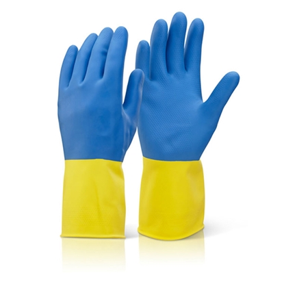 Picture of BCYBL BI COLOUR HEAVY WEIGHT MEDIUM YELLOW/ BLUE LARGE GLOVE (CHEMICALS/ACID)- SOLD PER PAIR