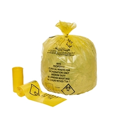 Picture of YELLOW CLINICAL WASTE SACK 11 X 17 X 26 [500]