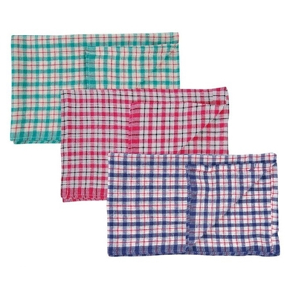 Picture of Coloured Check Tea Towel- Pack