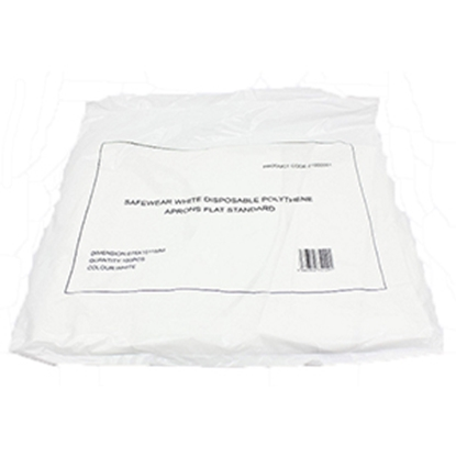 """Picture of ECONOMY PACK 100 APRONS WHITE 42"""" DISPOSABLE"""
