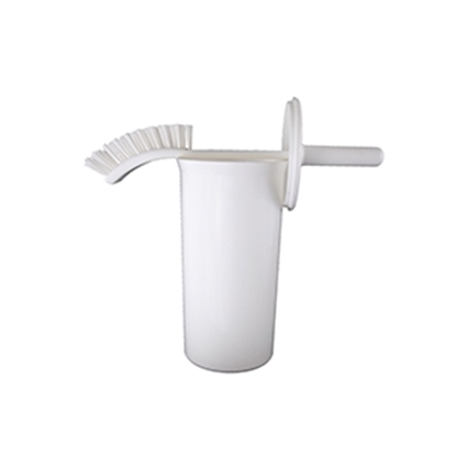 Picture of 385mm Bent Handled Stiff Toilet Brush with Enclosed Holder- White