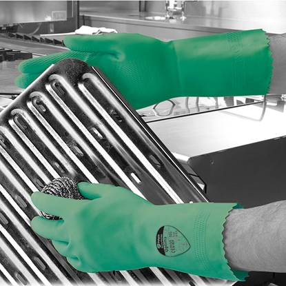 Picture of 7-7.5 (MEDIUM) GREEN OPTIMA™ MEDIUMWEIGHT NATURAL RUBBER GLOVE FLOCK LINED- SOLD EACH