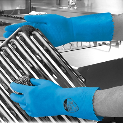 Picture of 7-7.5 (MEDIUM) BLUE OPTIMA™ MEDIUMWEIGHT NATURAL RUBBER GLOVE FLOCK LINED- SOLD EACH