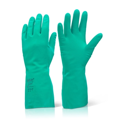 Picture of GREEN NITRILE GAUNTLETT GLOVE SMALL