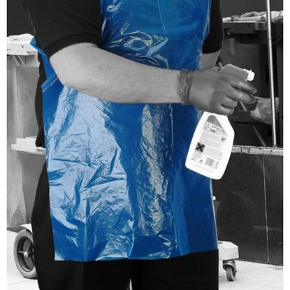 Picture of BLUE LONG LENGTH PE APRONS ON A ROLL- 200 APRONS PER ROLL