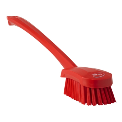 Picture of 41824 Vikan 415mm Medium Bristle Red Long Handle Washing Brush
