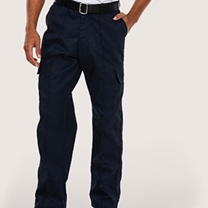 "Picture of Mens Navy Cargo Trousers- Waist 34"" Leg: Long"