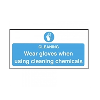Picture of CL009 Wear Gloves when using Cleaning Chemicals Safety Sign-  Self Adhesive 100x200mm