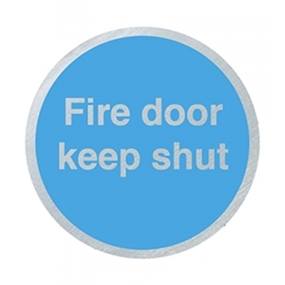 Picture of DS028 Fire Door Keep Shut 75mm Stainless Steel Disc