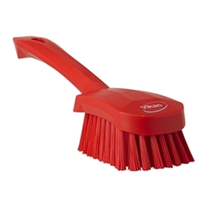 Picture of 41904 Vikan Washing Brush with Short Handle 270mm Medium Bristles- Red