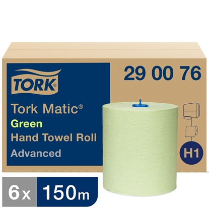 Picture of 290076 H1 Tork Matic Hand Towel Roll Advanced 2 Ply- Green