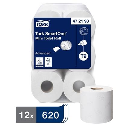 Picture of 472193 T9 Tork SmartOne Mini Toilet Roll 44mm 2 Ply- 12 White Rolls
