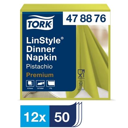 Picture of 478876 Tork Premium Linstyle Pistachio Dinner Napkin 1 Ply