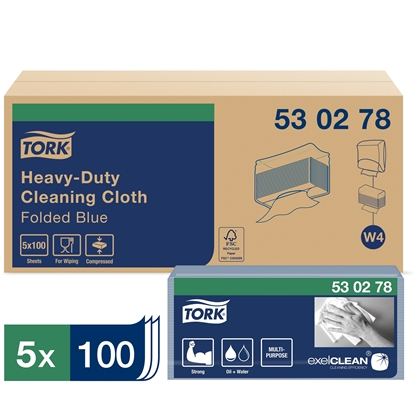 Picture of 530278 W4 Tork Heavy Duty Cleaning Cloth 1 Ply- Blue