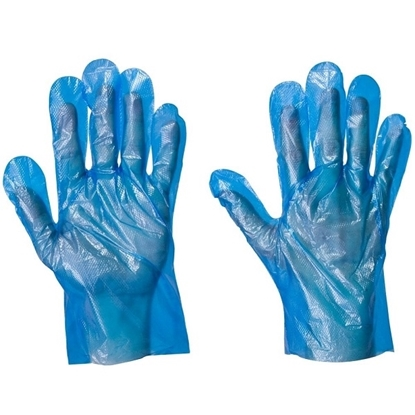 Picture of Blue Polyethylene Disposable Glove- Size: One Size