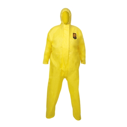 Picture of 96770 Kleenguard A71 Chemical Spray Protection Coveralls Hooded Yellow- Size Large